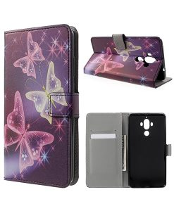 Huawei Mate 9 Wallet Case Suojakotelo, Shiny Butterfly.