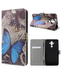 Huawei Mate 9 Wallet Case Suojakotelo, Blue Butterfly.
