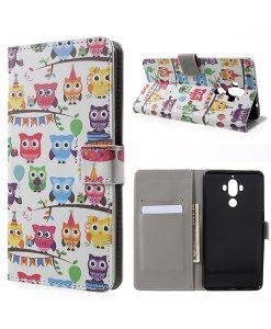 Huawei Mate 9 Wallet Case Suojakotelo, Owls 3.