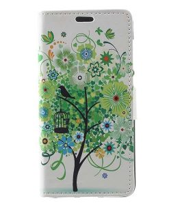 Huawei Honor 8 Lite Leather Folio Case, Green Tree.
