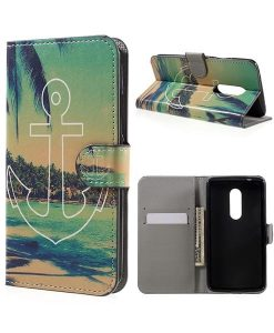 ZTE Axon 7 Wallet Cover Suojakotelo, Anchor Pattern.