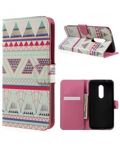 ZTE Axon 7 Wallet Cover Suojakotelo, Triangles Pattern.