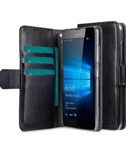 Microsoft Lumia 650 Melkco Walletcase Book, Musta.
