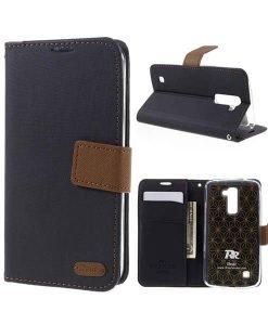 LG K10 Roar Korea Diary Wallet, Musta.