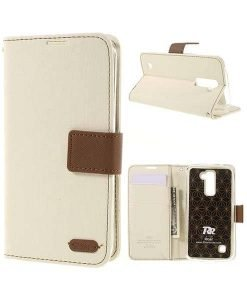 LG K10 Roar Korea Diary Wallet, Valkoinen.