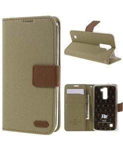 LG K10 Roar Korea Diary Wallet, Khaki.