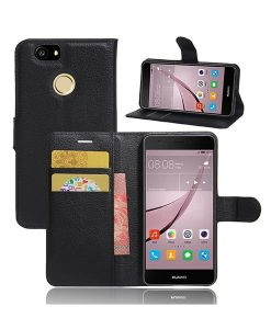 Huawei Nova Litchi Grain Leather Case, Musta.