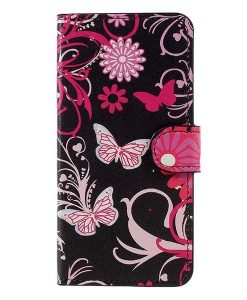 Huawei Honor 8 Lite Patterned Wallet, Floral Butterflies.