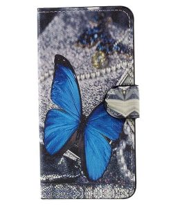 Huawei Honor 8 Lite Patterned Wallet, Blue Butterflies.