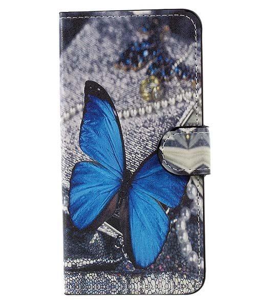 Huawei Honor 8 Lite Patterned Wallet, Blue Butterflies.