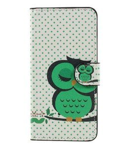 Huawei Honor 8 Lite Patterned Wallet, Green Owl.