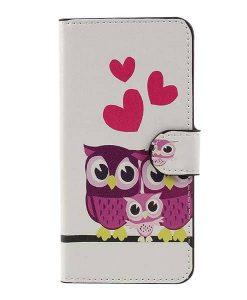 Huawei Honor 8 Lite Patterned Wallet, Purple Owls.