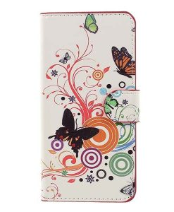 Huawei Honor 8 Lite Patterned Wallet, Circle Butterflies.
