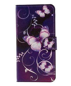 Huawei Honor 8 Lite Patterned Wallet, Purple Butterflies.