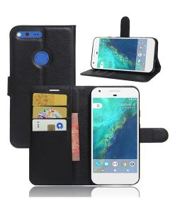 Google Pixel XL Magnetic Leather Wallet Case, Musta.
