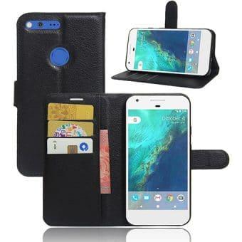 Google Pixel XL Magnetic Leather Wallet Case, Musta.