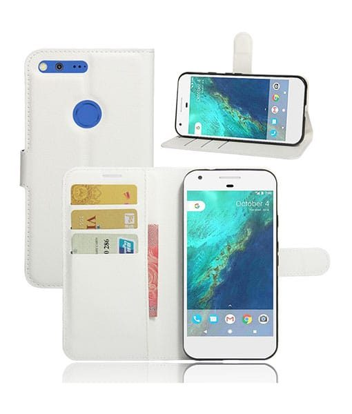 Google Pixel XL Magnetic Leather Wallet Case, Valkoinen.