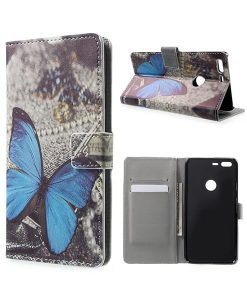 Google Pixel XL Wallet Cover Case, Blue Butterfly.