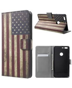 Google Pixel XL Wallet Cover Case, US Flag.