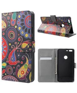 Google Pixel XL Wallet Cover Case, Paisley Pattern.