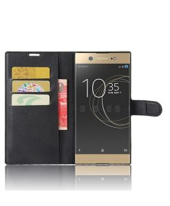 Sony Xperia XA1 Ultra Wallet Leather Case, Musta.