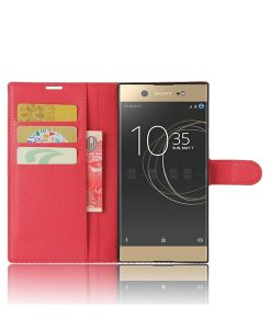 Sony Xperia XA1 Ultra Wallet Leather Case, Punainen.