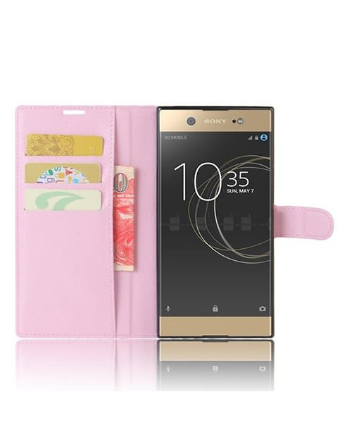 Sony Xperia XA1 Ultra Wallet Leather Case, Pinkki.