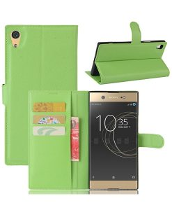 Sony Xperia XA1 Ultra Wallet Leather Case, Vihreä.