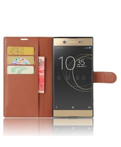 Sony Xperia XA1 Ultra Wallet Leather Case, Ruskea.