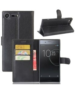 Sony Xperia XZ Premium Wallet Leather Case, Musta.