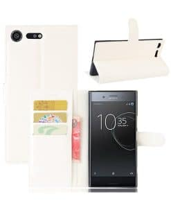 Sony Xperia XZ Premium Wallet Leather Case, Valkoinen.