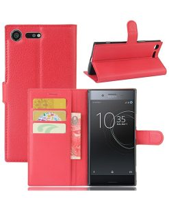 Sony Xperia XZ Premium Wallet Leather Case, Punainen.
