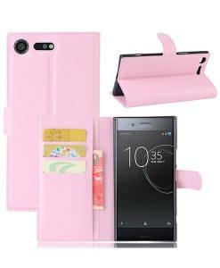 Sony Xperia XZ Premium Wallet Leather Case, Pink.
