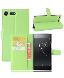 Sony Xperia XZ Premium Wallet Leather Case, Vihreä.