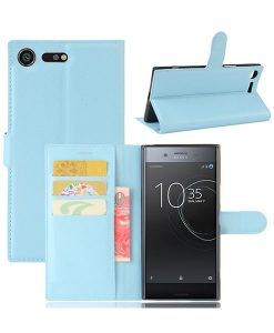 Sony Xperia XZ Premium Wallet Leather Case, Sininen.