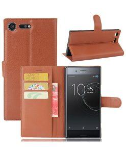 Sony Xperia XZ Premium Wallet Leather Case, Ruskea.