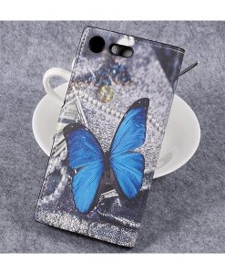Sony Xperia XZ Premium Wallet Flip Cover, Blue Butterfly