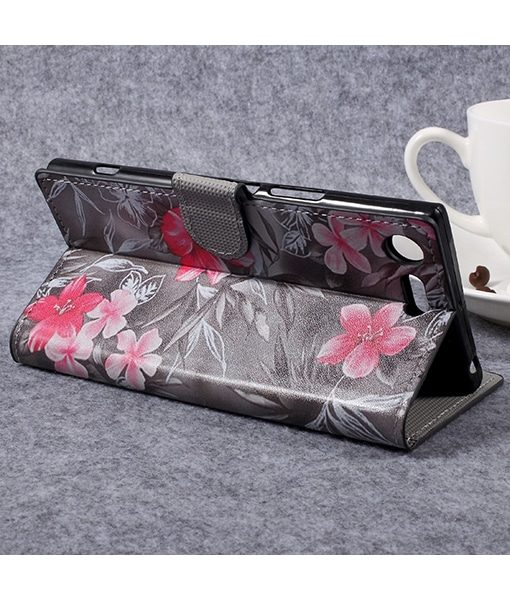 Sony Xperia XZ Premium Wallet Flip Cover, Red Flowers.