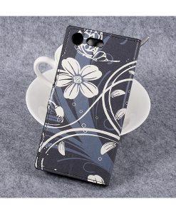 Sony Xperia XZ Premium Wallet Flip Cover, White Flowers.