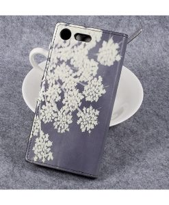 Sony Xperia XZ Premium Wallet Flip Cover, Flower Patterns.