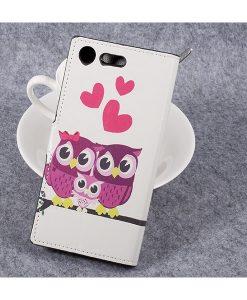 Sony Xperia XZ Premium Wallet Flip Cover, Owls 2.