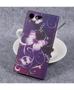 Sony Xperia XZ Premium Wallet Flip Cover, Purple Butterfly.