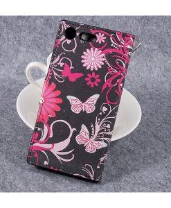 Sony Xperia XZ Premium Wallet Flip Cover, Black Butterfly.