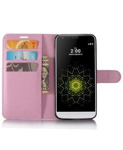 LG G6 Wallet Leather Case, Pink.
