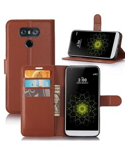 LG G6 Wallet Leather Case, Ruskea.