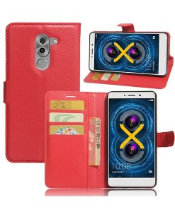 Huawei Honor 6X Wallet Leather Case, Punainen.