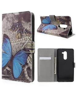 Huawei Honor 6X Pattern Printing Wallet Case, Blue Butterfly.