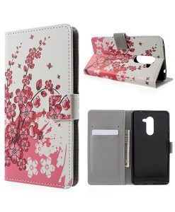 Huawei Honor 6X Pattern Printing Wallet Case, Pink Plum.