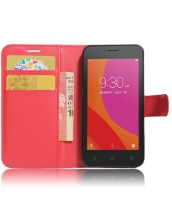 Lenovo A Plus Wallet Leather Case, Punainen.