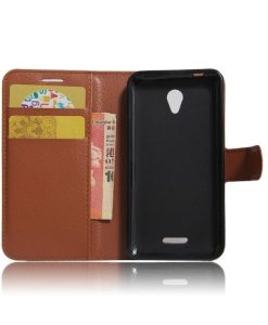 Lenovo A Plus Wallet Leather Case, Ruskea.